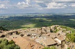 Панорама ландшафта Montalcino и Тосканы, Италии, Европы Стоковое Изображение RF