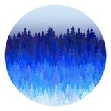 Панорама леса зимы с голубой иллюстрацией ландшафта вектора рождественских елок бесплатная иллюстрация