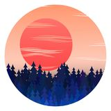 Панорама леса зимы с заходом солнца и вектор рождественских елок благоустраивают иллюстрацию бесплатная иллюстрация