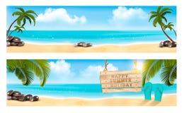Панорама летних каникулов 2 знамени с пляжем и ладонью Стоковое Фото