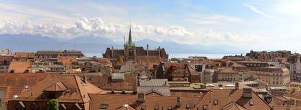 Панорама Лозанны с церковью Свят-Francois, Швейцарией Стоковое Фото