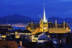 Панорама Лозанны с церковью Свят-Francois Стоковая Фотография
