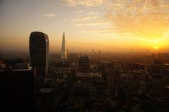 Панорама Лондона на заходе солнца Стоковое Изображение
