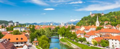 Панорама Любляны, Словении, Европы Стоковое Изображение RF
