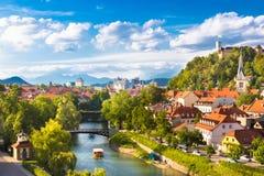 Панорама Любляны, Словении, Европы Стоковое Фото