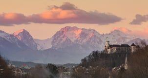 Панорама Любляны, Словении, Европы Стоковая Фотография