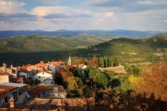Панорама малой деревни в Хорватии Стоковое Изображение RF