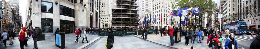 Панорама Манхаттан Нью-Йорк NY дерева Christmans площади Рокефеллер Стоковое Изображение