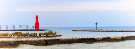 Панорама маяка Algoma Стоковая Фотография