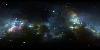 панорама межзвёздного облака космоса 360 градусов, equirectangular проекция, карта окружающей среды Панорама HDRI сферически иллюстрация вектора