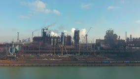Панорама металлургического предприятия Завод для изготовления металла Взгляд от вершины завода изготавливание видеоматериал