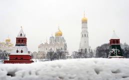 Панорама Москвы Кремля в зиме Стоковая Фотография