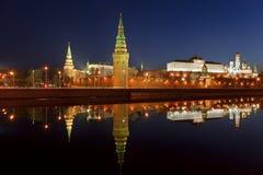 Панорама Москвы Кремля в раннем утре Стоковые Изображения