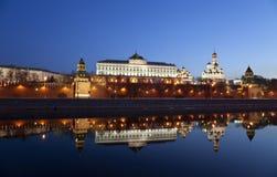 Панорама Москвы Кремля в раннем утре Стоковая Фотография