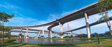 панорама моста bhumibol Стоковое Изображение