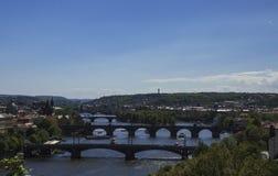 Панорама мостов над рекой Viltava стоковое изображение