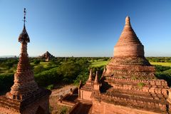 Панорама на заходе солнца Пагода 761 Bagan myanmar Стоковое Фото