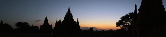 Панорама на заходе солнца комплекса виска Bagan Стоковое Фото