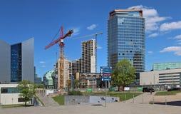 Панорама нового conctruction зданий в центре крышки Стоковые Изображения