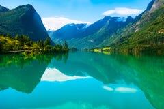 Панорама Норвегии Nordfjord и ландшафт горы Стоковое Изображение