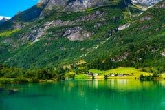 Панорама Норвегии Nordfjord и ландшафт горы Стоковые Фотографии RF