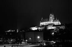 Панорама ночи Брна с собором, чехией Стоковая Фотография