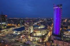Панорама ночи Варшавы, столицы Польши, Европа, Стоковая Фотография