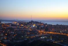 Панорама ночи Владивостока. Россия Стоковые Изображения RF