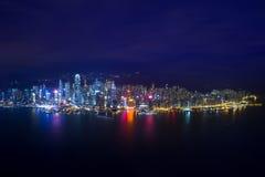 Панорама ночи горизонта Гонконга Стоковое Изображение