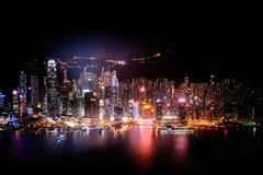Панорама ночи горизонта Гонконга Стоковые Фото