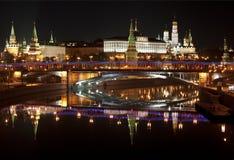 Панорама ночи Москвы Кремля. Москва, Россия Стоковые Фото
