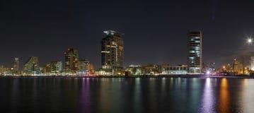 Панорама ночи Тель-Авив стоковая фотография rf