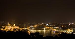 панорама ночи budapest Стоковая Фотография RF