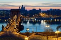 панорама ночи budapest Стоковые Фото