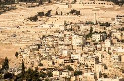 Панорама обозревая город части старый Иерусалима, Израиля как b Стоковые Фото