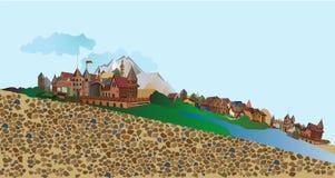 панорама обозревая старую деревню с каменным замком и горами иллюстрация штока