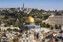 Панорама обозревая старый город Иерусалима, Израиль, Стоковая Фотография RF