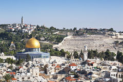 Панорама обозревая старый город Иерусалима, Израиля Стоковое Изображение RF