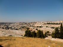 Панорама обозревая старый город Иерусалима, Израиля, includin Стоковые Фото