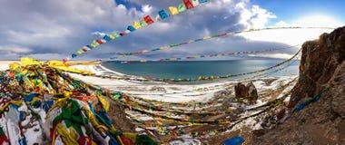 Панорама озера Namtso в Тибете. 4900 M. Стоковое Фото