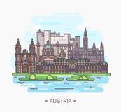 Панорама ориентир ориентиров Австрии вены, Зальцбурга иллюстрация вектора