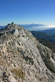 Панорама осени Triglav NP с hikers Стоковые Изображения