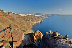 Панорама от Imerovigli Santorini, острова Кикладов Греция Стоковое фото RF