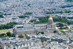 Панорама Парижа, взгляд des Invalides гостиницы от вершины Стоковое фото RF