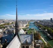 Панорама Парижа, франция. Река Сена Стоковая Фотография