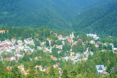 Панорама пейзажа прикарпатских гор, леса ели, кудели Sinaia Стоковое Изображение