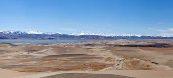 Панорама песчанных дюн в западном Тибете, Китае Стоковое фото RF