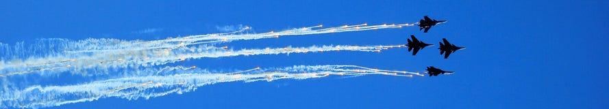 Панорама пилотажная от Airshow MAKS 2017 в России Стоковое Изображение RF