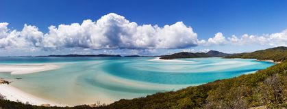 Панорама пляжа Whiteheaven, острова Whitsunday, Квинсленда, Австралии стоковые изображения rf