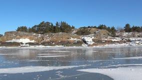 Панорама побережья зимы полуострова Hanko Финляндия сток-видео